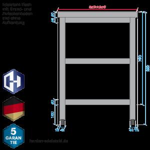 Edelstahl Tisch Mit Der Bautiefe 300 Mm Zwischenboden Und Grundboden Harden Edelstahl Hersteller Shop Made In Germany