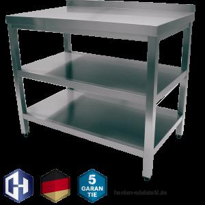 Edelstahl Tisch Mit Der Bautiefe 600 Mm Zwischenboden Und Grundboden Harden Edelstahl Hersteller Shop Made In Germany