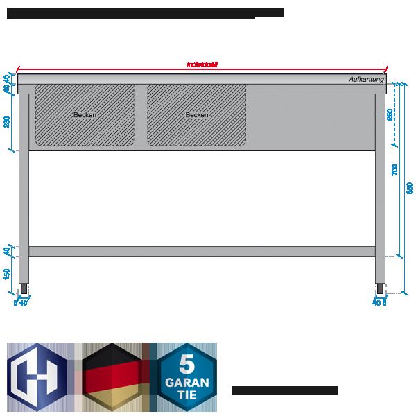 harden edelstahl edelstahl sp ltisch 2 becken mit abtropffl che bautiefe 700 mm. Black Bedroom Furniture Sets. Home Design Ideas